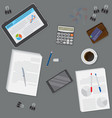 view of dark office desk including tablet vector image vector image