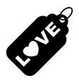 wedding love tag black icon vector image vector image