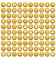 100 viral marketing icons set gold vector image vector image