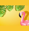 3d pink flamingo inflatable pool ring vector image vector image