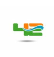 42 anniversary wave logo blue vector image vector image