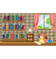 A girl reading a book near a window with a pink vector image vector image