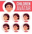 asian girl avatar set high school face vector image vector image