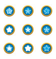 asterisk icons set flat style vector image vector image