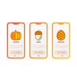 autumn thin line icons set pumpkin acorn vector image