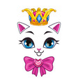 beautiful princess cat face on white background vector image vector image