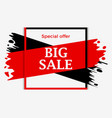 big sale banner with red and black ink painting vector image vector image