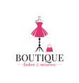 boutique fashion logo mannequin dress and handbag vector image vector image