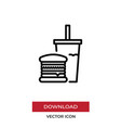 burger icon in modern style for web site and vector image vector image