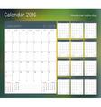 Calendar for 2016 year Planner template design vector image