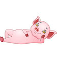 cartoon pig walking with straw hat vector image vector image