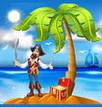 cartoon pirate island and treasure chest