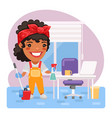 cartoon woman cleaning lady vector image