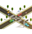 city intersection traffic navigation isometric vector image vector image