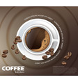 coffee cup card realistic product vector image vector image