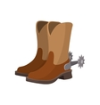 Cowboy boot cartoon icon vector image