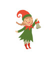 cute happy christmas elf girl with bell vector image vector image