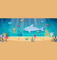 diving underwater cartoon background vector image vector image