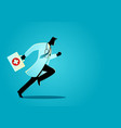 doctor running with suitcase vector image vector image