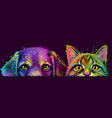dog and cat wall sticker abstract multicolored