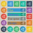 Euro EUR icon sign Set of twenty colored flat vector image