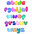fat bubble lower case alphabet vector image vector image