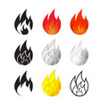 fire and flames icon in many style vector image