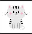 gray cat sad head face silhouette cute cartoon vector image vector image