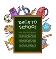 Green chalkboard with school supplies - back to vector image vector image
