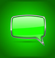 green speech bubble rectangular 3d icon with vector image vector image