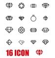grey diamond icon set vector image vector image