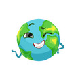 happy earth planet character winking cute globe vector image vector image