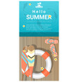 hello summer background with wooden pier vector image vector image