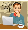 hipster man with laptop in coffee shop vector image vector image