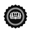 kings crown in circle isolated monochrome emblem vector image