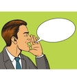 Man shouts with hand pop art style vector image vector image