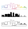 Omaha V2 skyline linear style with rainbow vector image vector image