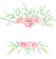 pink peony flower bouquet wreath frame for banner vector image vector image