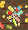 popsicles with berries and fruits vector image vector image
