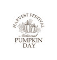 pumpkins with leaves emblem vector image