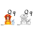 queen alphabet letter q coloring page vector image vector image