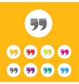 Quote sign icon set Quotation mark button vector image
