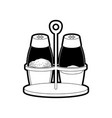 salt and pepper containers black silhouette vector image vector image
