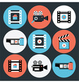 Set of Movie and Video Flat Circle Icons vector image vector image