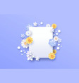 spring paper cut 3d flower copy space template vector image vector image