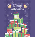 stacked gift boxes bells snowflakes merry vector image vector image