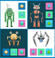 start set robots collection vector image vector image