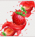 strawberry fruit in splashing juice vector image vector image