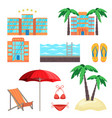 summer holidays set with five stars hotel vector image vector image