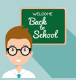 teacher with chalkboard back to school vector image vector image
